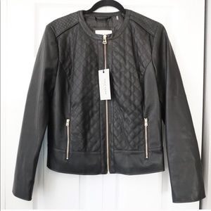 Cole Haan Quilted Black Faux leather Jacket